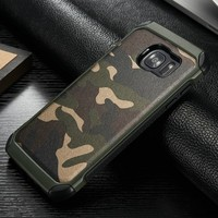 For Samsung Galaxy S7 Edge Camo PU Leather Skin Pocket Back Case