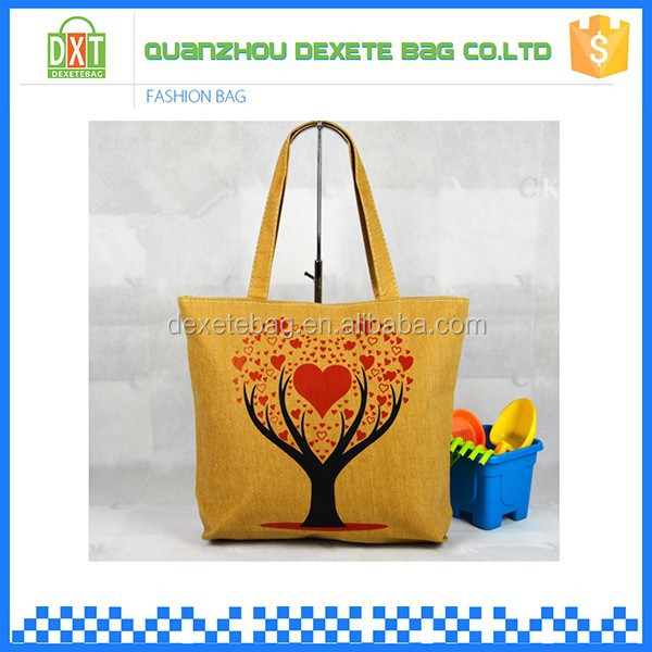 Yellow color tree patterns woman shopping tote bag canvas