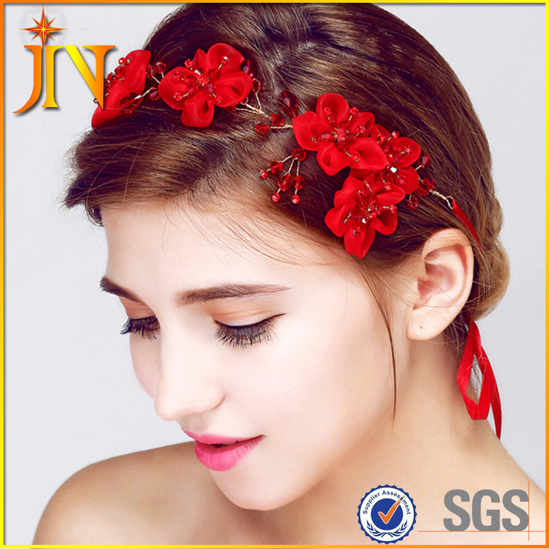 HB0031 JN Charm Floral hairband Crystal Beads red crown women hair ornaments bridal wedding photography accessories