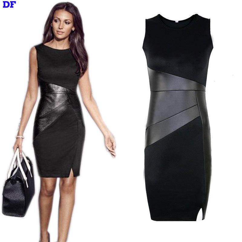 Buy Pu Leather Patchwork Ol Black Pencil Dress Sleeveless Sexy 2015