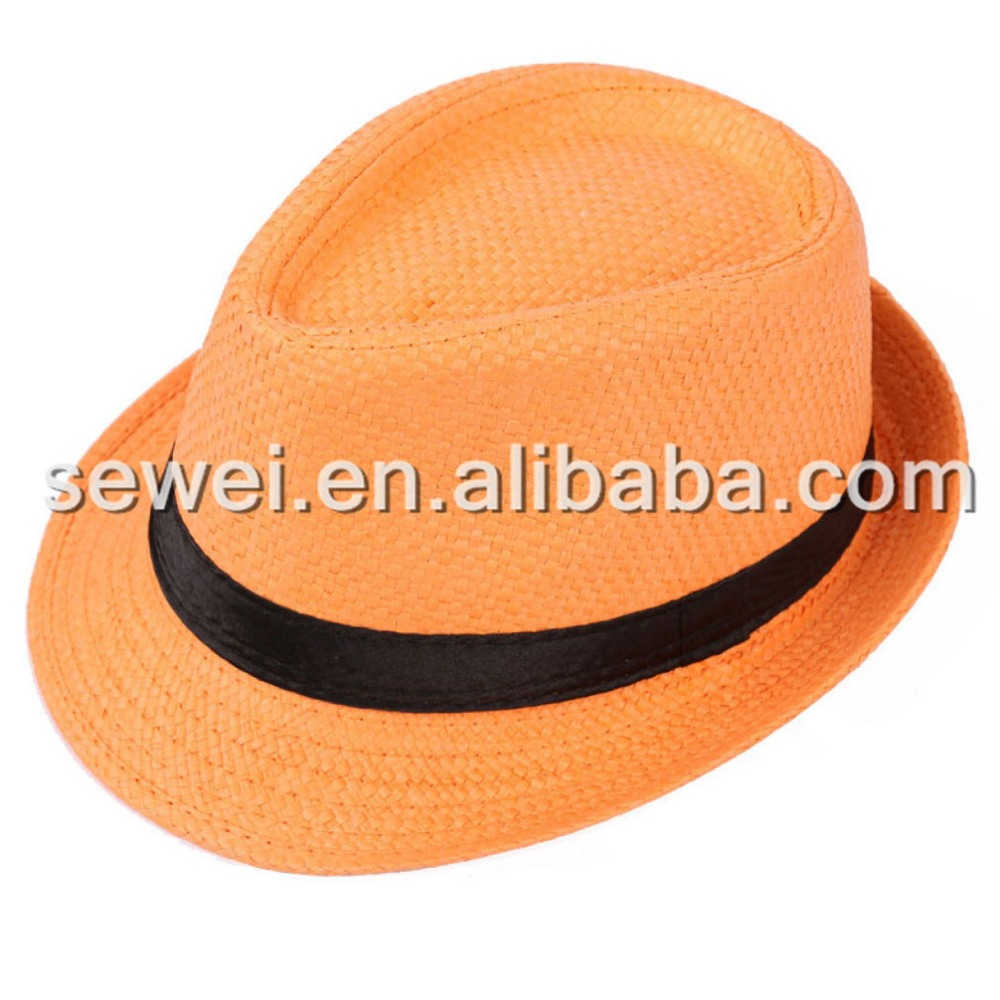 Custom printing paper folding man straw hats with ribbon