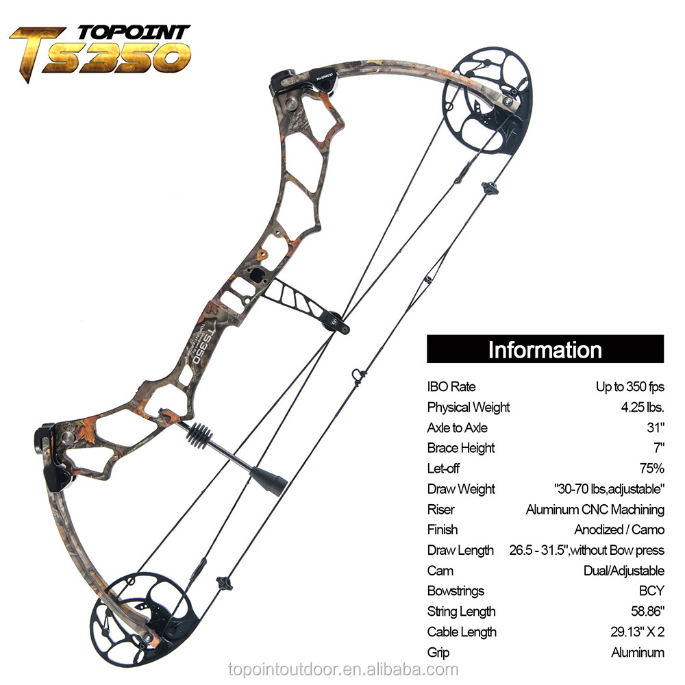 Topoint Archery Compound Bow TS350, hunting bow, left handed and right handed bow only