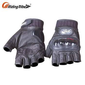 Large Motorcycle Goat Genuine Half Finger Leather Riding Motocross Gloves Custom