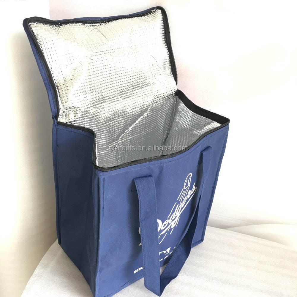 Thermal Lined Non Woven Cooler Insulated Grocery Bag With Zipped Lid Closure
