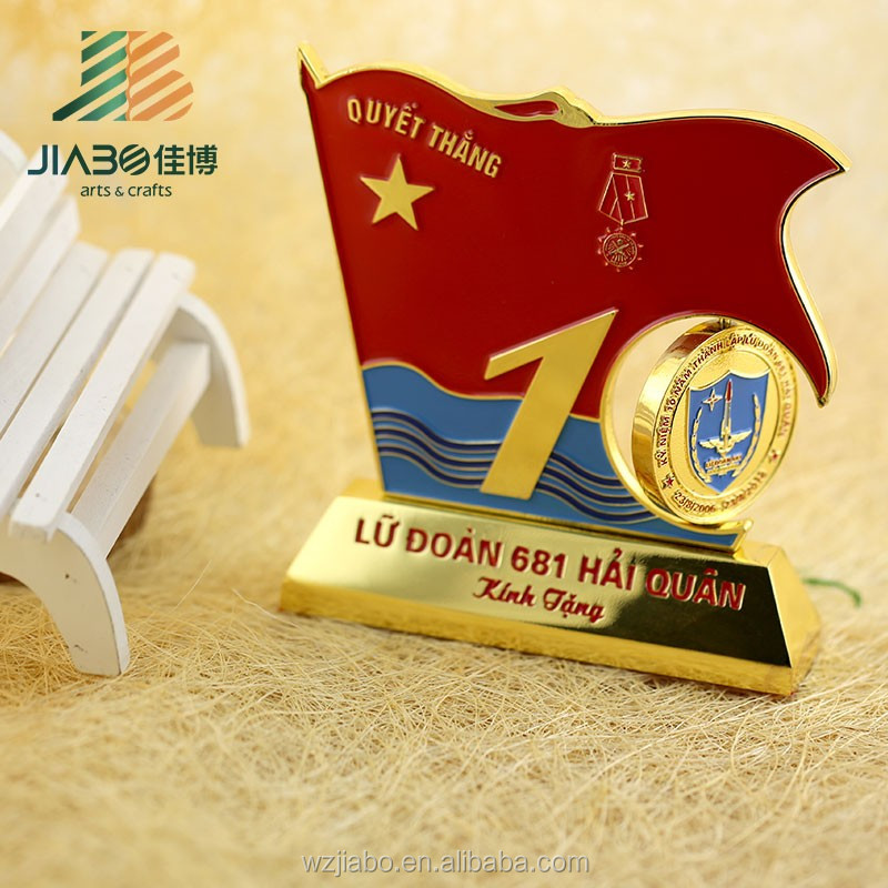 High quality gold metal military award trophy cup with round medal