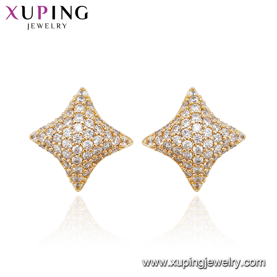 94922 Arabic imitation 18k gold plated Zircon Copper stud earrings star shape micro pave crystal women stud earrings