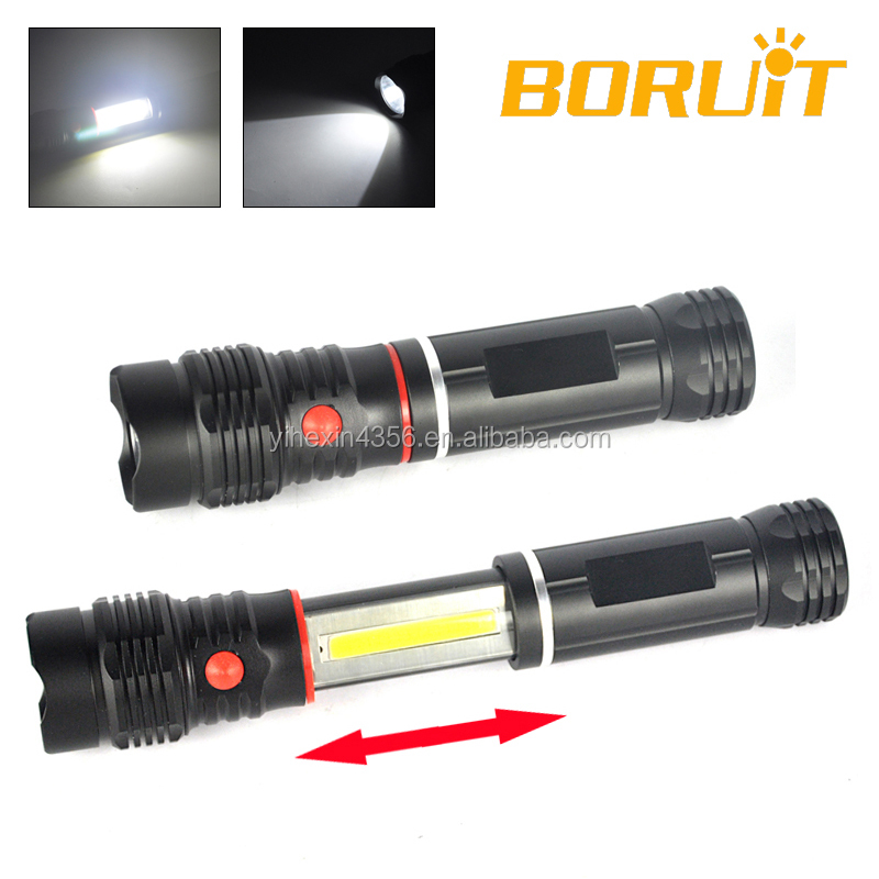 Cool 2 In 1 Extended LED Flashlight Torch for Outdoor Camping