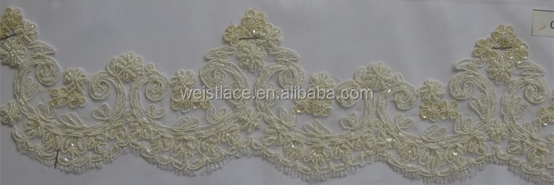 EMBROIDERY TRIMMING,BORDE LACE WITH BEADS AND CORD FOR VEILS/ Lace edging in ivory