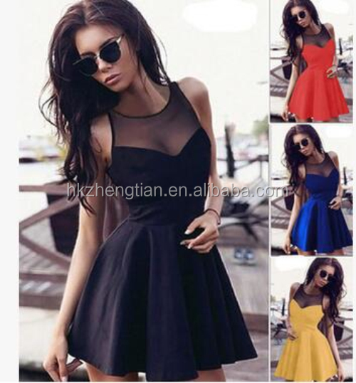 2014 New Fashion Pleated Lantern Skirt Dress Elegant Ladies Skater Dress with Mesh Insert