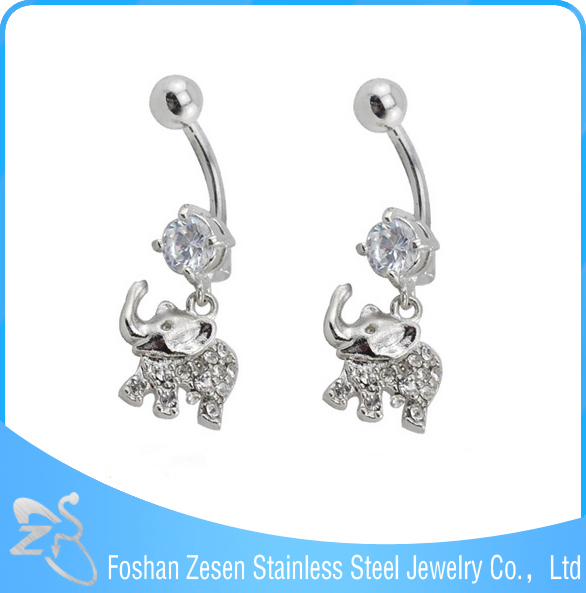 China manufacturer medical steel wholesale hanging crystal elephant belly ring