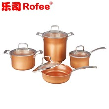 8 Piece Ceramic Coated Copper Kitchen Cookware with stainless steel handle