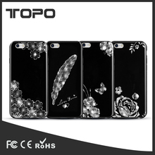 New fashion 3D rhinestone flower diamond soft TPU protector mobile phone case cover for iPhone 5 6 7 plus