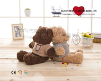 custom safety promotional toy plush giant teddy bear in brown sweater