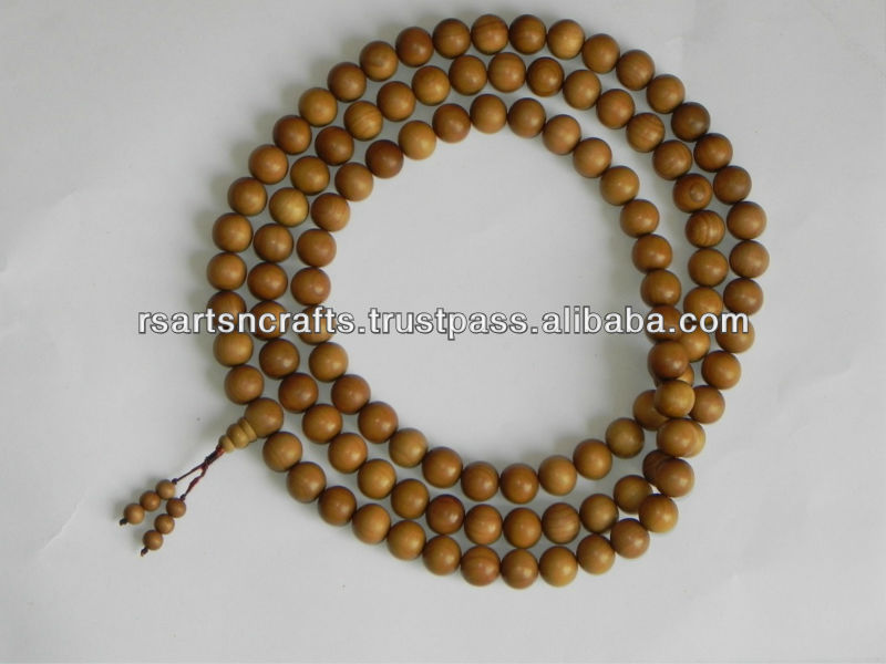 Indian woodcraft, buddhist meditation beads, sandalwood beads mala