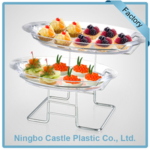 Wholesale Plastic Acrylic Serving Tray Stand 2 Tier Dessert Tray