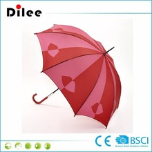 Long hook handle stick walking umbrella with Pink and Red Lips