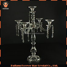 New! 5 arms candelabra clear crystal stand centerpieces for wedding table