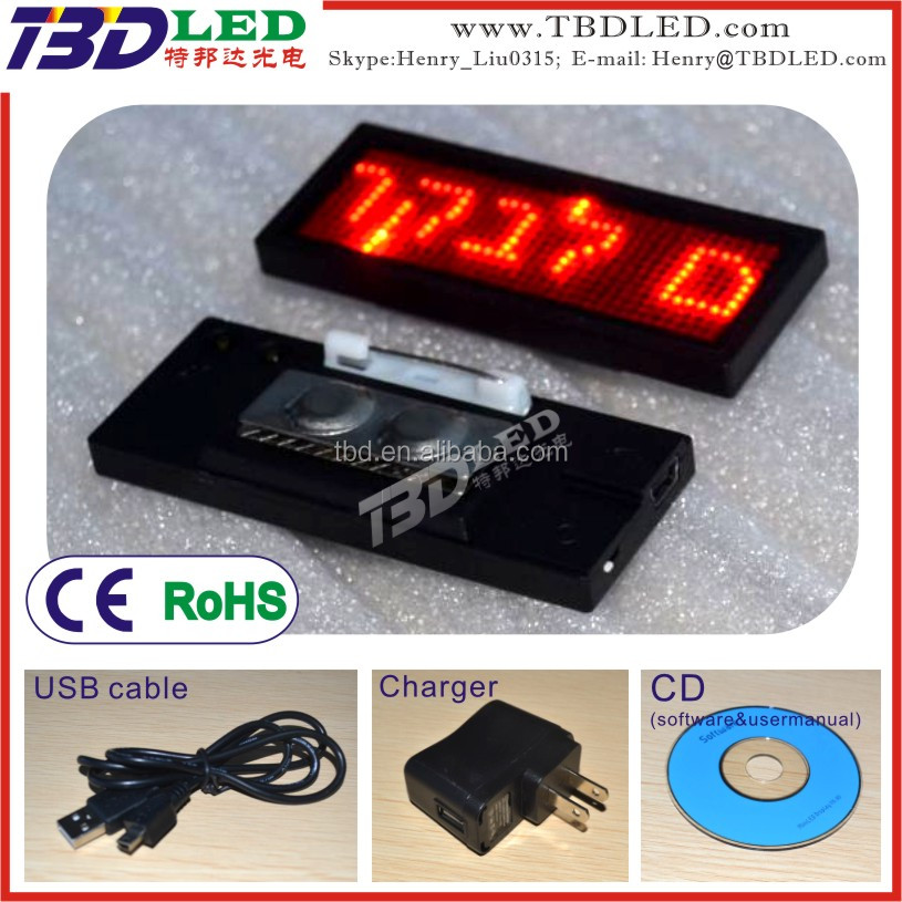 RED Mini LED name tag/led card screen/indoor advertising small led name display