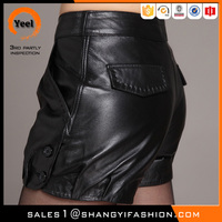 YEEL New Arrival summer side botton back pocket tight sexy faux leather short pants