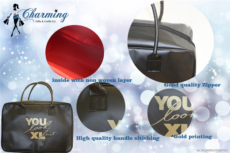 New arrival excellent quality 60CM PU handle with cotton inside zipper bag