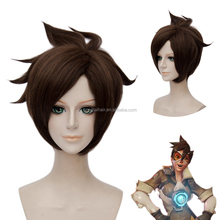 OHCOS Hot Game Tracer Lena Oxton Brown 30cm Short Synthetic Hair Cosplay Wig