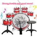 Jazz Drum Set With Chair - Music Toy Instrument For Kids Drummer Band Red 10 Pcs