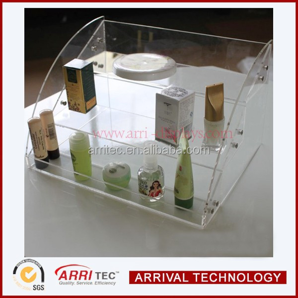 wholesale China factory clear acrylic storage countertop stand 3 step acrylic stairs perfume display rack