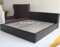 Black leather double beds