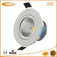 High lumen 85mm diameter dimmable ceiling led downlight 3w from leading china cob led downlight manufacturer
