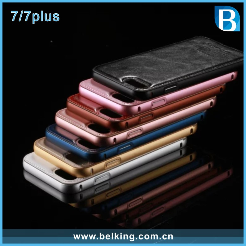 Hot Selling Melta Aluminum Bumper Cover Case with Leather Back For iPhone 7 7plus