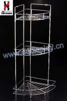 New Wire Three Tiers Wall Corner Shelves For Bathroom