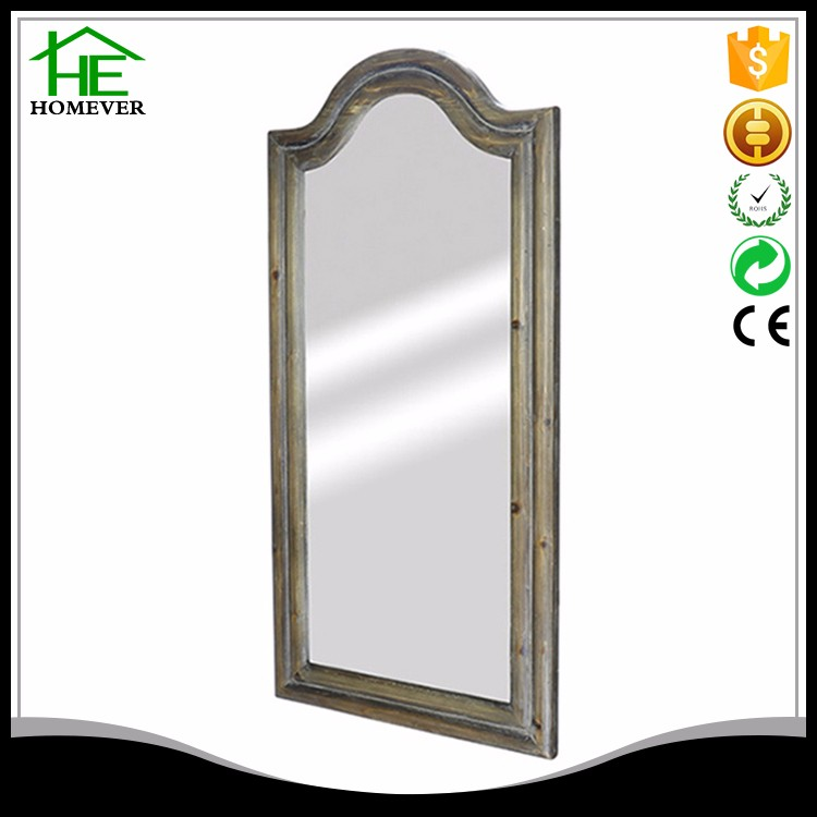 Custom retro ce rohs rectangle wood craft wall mirror
