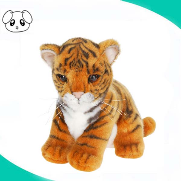 hot sale lifelike tiger doll print fabric tiger plush toy plastic eye plush tiger