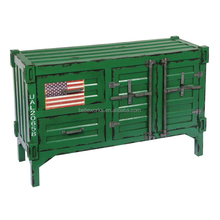 wholesale shabby green container shape storage cabinet,shabby chic furniture for livingroom