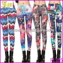 Sexy Women Ladies Galaxy Punk Printed High Waist Silk Milk Tights Pants Leggings