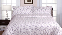 Hot selling,popular dobby polyester/cotton 4PC bed sheet set, disperse print