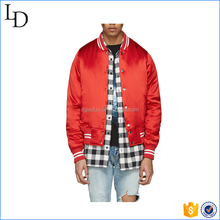 Red color satin plain men silk bomber jacket baseball winter padding jacket