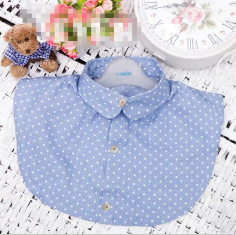 Women Removable Navy Dot Shirt Fake False Collar