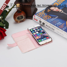 Shenzhen factory hot sell exquisite sewing patchwork stand wallet pu case luxury wallet pu leather phone case for iPhone 7
