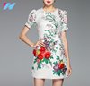 High quality women latest design dress summer fashion fine printed and appliques elegant mini casual sweet dress