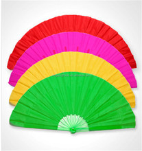 Plastic Fan Folding Fan Party Decorations Wedding Gifts Black Red Chinese Style Cheongsam Silk Composite Dance right-handed