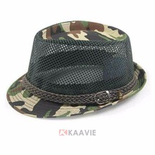 2015 hot new cheap short brim mesh camouflage fedora hat