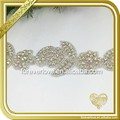 Rhinestone trim Applique Rhinestone Bridal Applique Bridal flower Sash Applique trim FRA-094