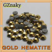 Top Quality ss10 GOLD HEMATITE Hot Fix rhinestones flat back Strong heat transfer iron-on hot fix round stone