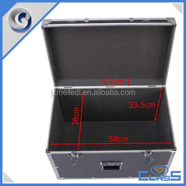 Professional black aluminum flight storage equipment foam case with padding