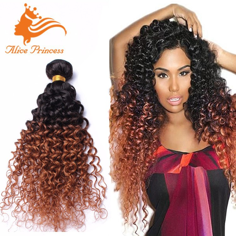 3pcs Two Tone Kinky Curly Hair Weft 1bt30 100 Human Ombre Hair