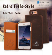 Luxury leather case for iphone 7,high quality folio leather phone case