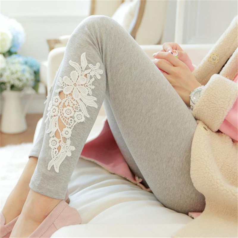 New Design Women Comfort Soft Stretch Embroidery Leggings Flower Lace Knitted Cotton Leggings Wholesale