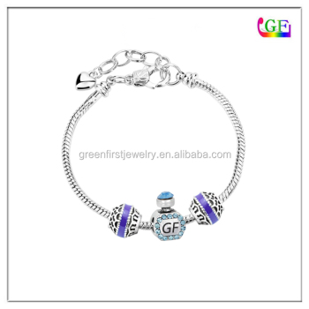 Perfume Bottle with Blue Crystal Charm European Bead Snake Chain Bracelet