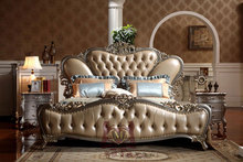 Italy Style Brand New Bedroom Furniture, Royal Luxury Bedroom Furniture Set, Golden King Size Bed With